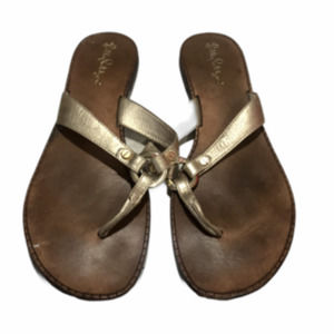 Lilly Pulitzer Sandals Brown & Gold Size 10 M